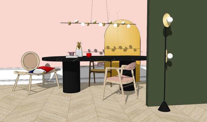 北欧风格餐桌椅组合SU模型【ID:652929643】