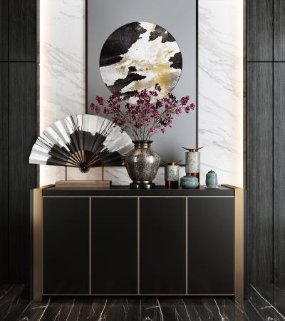 新中式裝飾柜擺件組合3D模型【ID:140947152】