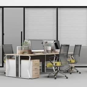 现代办公隔断办公桌3D模型【ID:931049129】