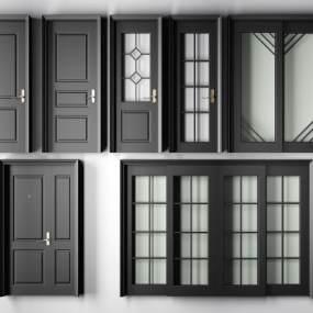 现代黑色烤漆实木平开门指母门推拉门厕所单开房门3D模型【ID:330459147】