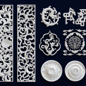 欧式古典石膏雕花构件3D模型【ID:333363658】
