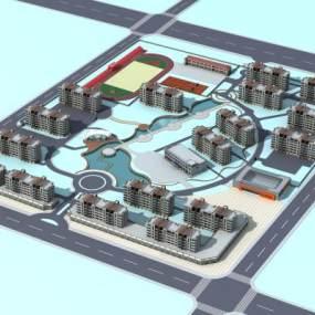 现代小区鸟瞰图3D模型【ID:231461040】
