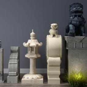 中式石雕石狮子石鼓3D模型【ID:332174555】