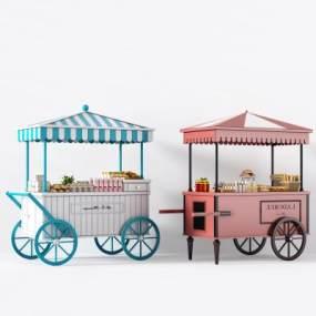 面包车售货车路摊车移动摊位3D模型【ID:433063791】