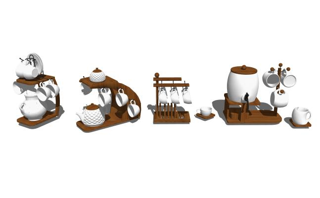 现代茶壶茶杯组合SU模型【ID:948432780】