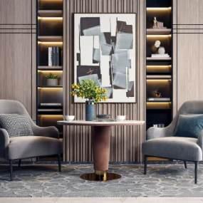 现代单人沙发圆桌组合3D模型【ID:634429458】