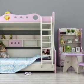 现代儿童上下床上下铺书柜桌椅组合3D模型【ID:831190833】