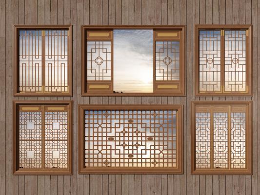 中式镂空木质仿古花窗3D模型【ID:343352228】