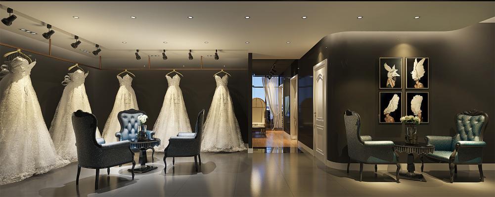 现代婚纱店3D模型【ID:936264913】