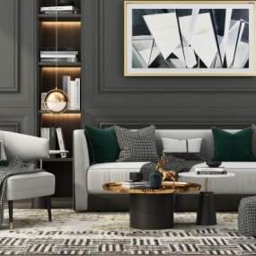 现代沙发组合3D模型【ID:647376715】