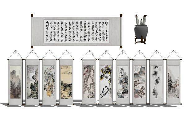 中式墙饰挂画组合SU模型【ID:948571038】