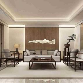中式茶室接待室3D模型【ID:636044129】