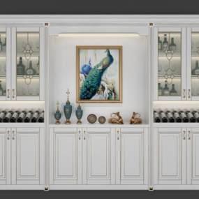 欧式简约实木酒柜3D模型【ID:634844235】