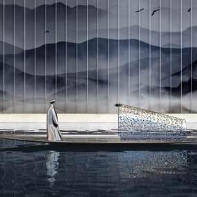 新中式山水景3D模型【ID:345532105】