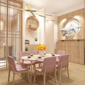 新中式餐厅3D模型【ID:548795199】