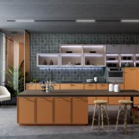 现代厨房3D模型【ID:952643214】