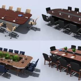 现代会议办公桌椅3D模型【ID:942240196】
