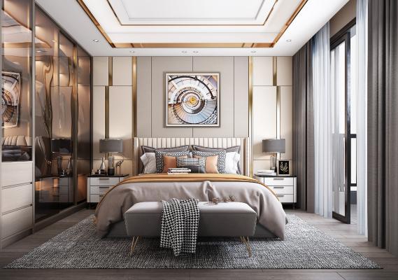 现代轻奢卧室3D模型【ID:552451252】