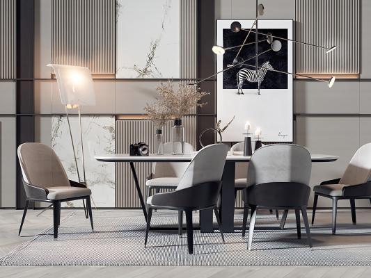 现代轻奢黑白灰餐桌椅组合3D模型【ID:546942152】