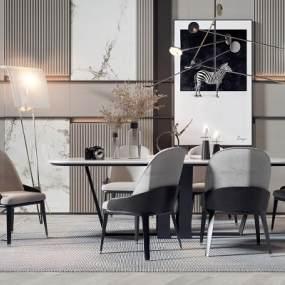 現代輕奢黑白灰餐桌椅組合3D模型【ID:546942152】