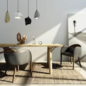 北欧餐桌椅组合3D模型【ID:833510842】