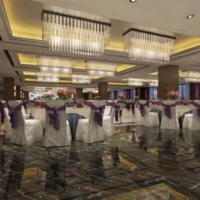 现代酒店宴会厅3D模型【ID:734472283】