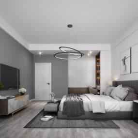 現代簡約臥室3D模型【ID:542817231】