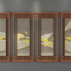 新中式装饰屏风3D模型【ID:333088682】