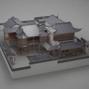中式古建筑院子群落3D模型【ID:132833920】