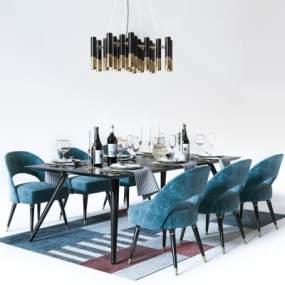 后现代餐桌椅吊灯组合3D模型【ID:832175849】