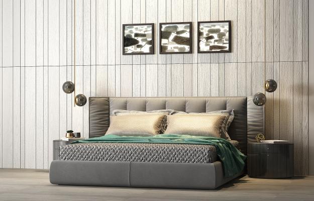现代轻奢布艺双人床 床头柜 饰品组合