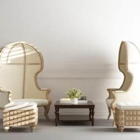 欧式简约高靠背沙发茶几3D模型【ID:635943471】