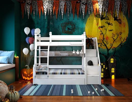 現代萬圣節兒童床組合3D模型【ID:843464885】