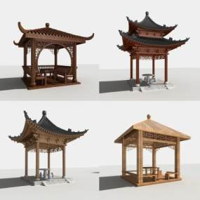 中式亭子3D模型【ID:131952430】