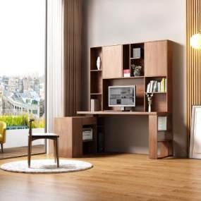 现代简约书桌书柜一体3D模型【ID:553349446】