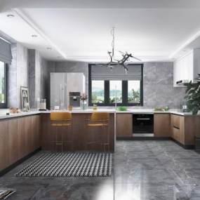 现代风格厨房橱柜组合柜3D模型【ID:537122340】