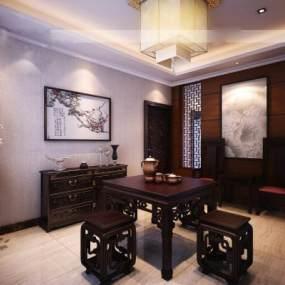 中式餐厅八仙桌红木 3D模型【ID:541569128】
