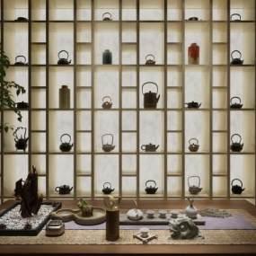 新中式茶室装饰柜茶具茶壶组合 3D模型【ID:640923158】