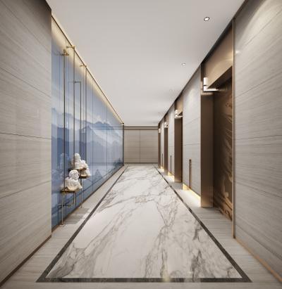 现代酒店公寓电梯厅3D模型【ID:745058670】