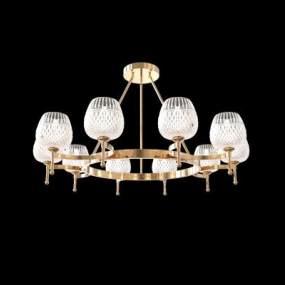 現代金屬吊燈3D模型【ID:743932823】