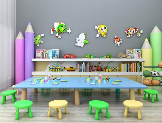 现代儿童桌椅装饰柜读物摆件组合3D模型【ID:930558327】