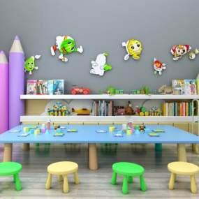 现代儿童桌椅装饰柜读物摆件组合365彩票【ID:930558327】