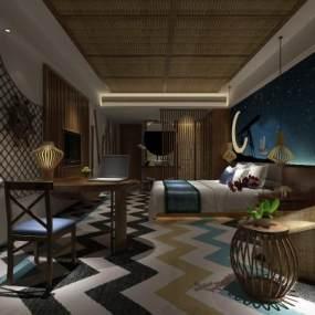 东南亚酒店客房 3D模型【ID:742285339】
