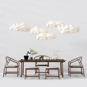 新中式茶桌椅3D模型【ID:830955874】