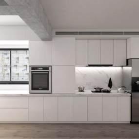现代厨房橱柜烤箱冰箱烟机炉具组合3D模型【ID:530431302】
