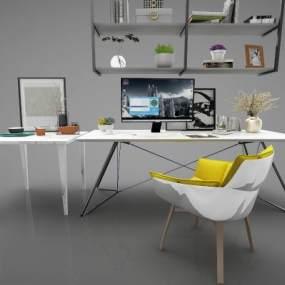 現代風格書桌3D模型【ID:947493093】