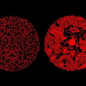 新中式金属传统花纹镂花组合3D模型【ID:231649781】
