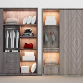 现代实木衣柜3D模型【ID:136019495】
