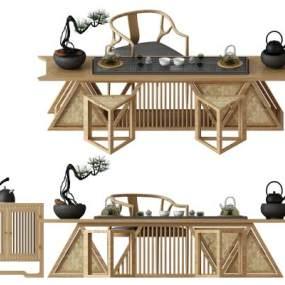中式實木茶桌椅裝飾柜屏風 3D模型【ID:841641936】
