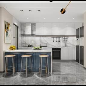 现代厨房3D模型【ID:532744337】